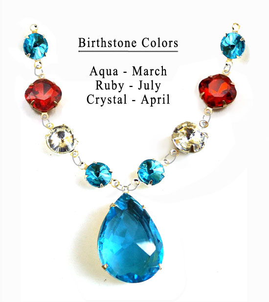 design for Mothers Day necklace using birthstone colors