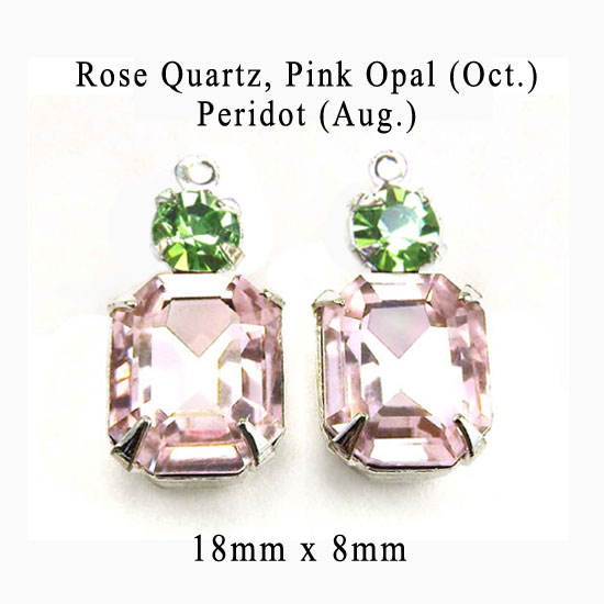pink and peridot green glass jewels for October and August birthstones