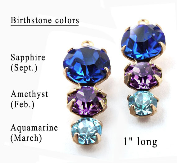 sapphire amethyst and aquamarine birthstone color glass gems