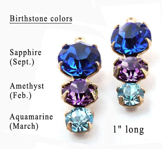 sapphire amethyst and aquamarine birthstone color glass gems