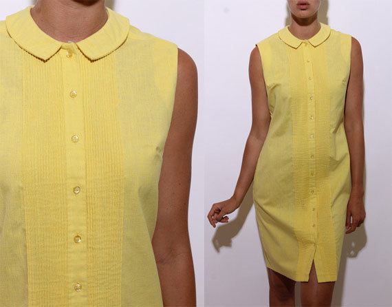 1960s yellow cotton vintage summer dress