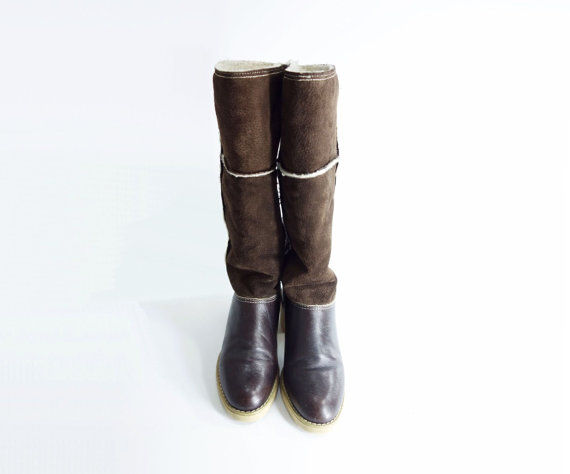 vintage brown suede and leather boots