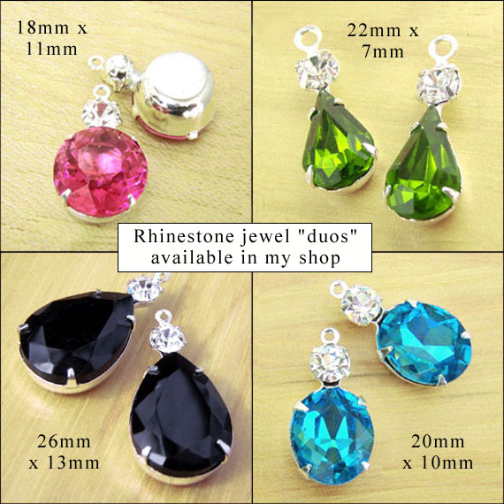 glass and rhinestone jewels available in my onine jewelry supplies shop