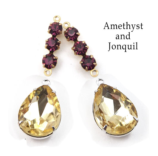 amethyst and jonquil glass jewels available in my Etsy shop