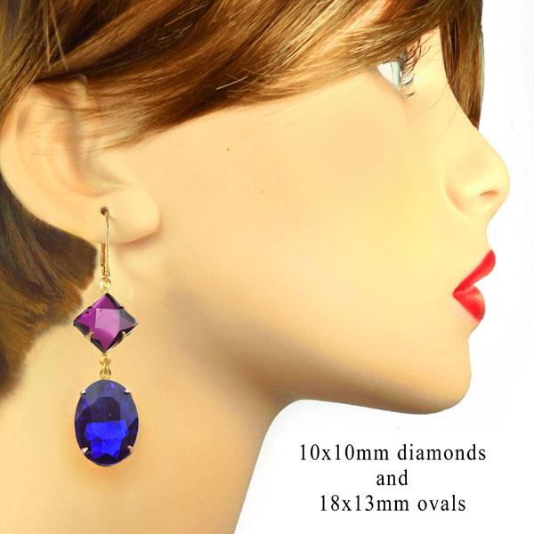earring design idea featuring a amethyst diamond shape gems and vivid blue sapphire oval glass jewels
