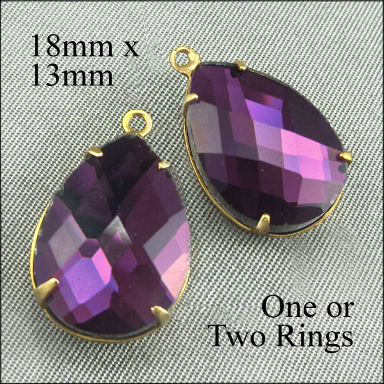 amethyst purple faceted glass teardrop cabochon beads