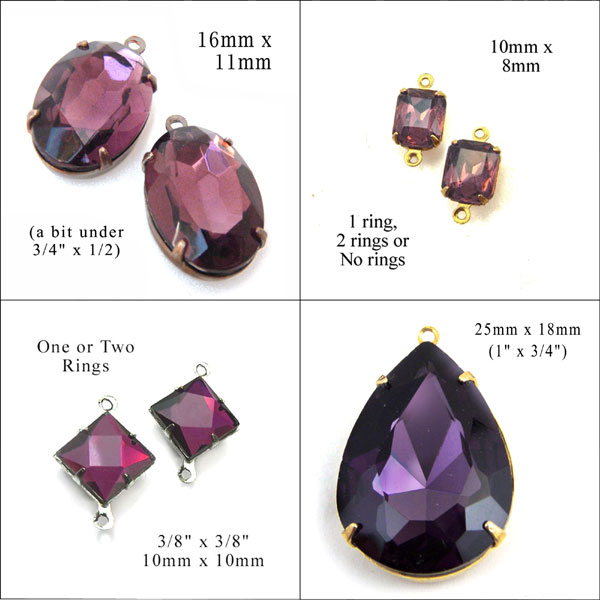 amethyst crystals and glass gems available at weekendjewelry.com