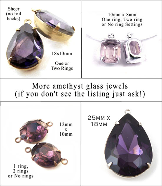 amethyst glass jewels and rhinestones available in my online shop
