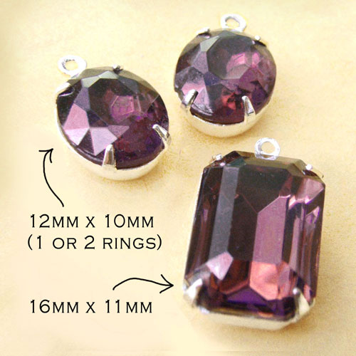 amethyst vintage glass pendant and earring jewels set