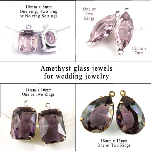 amethyst glass jewels for wedding and bridal jewelry