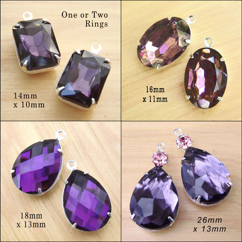 amethyst glass jewels in my Etsy jewelry supplies shop