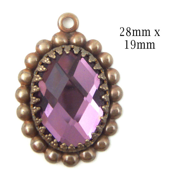 patina brass and amethyst glass cabochon pendant