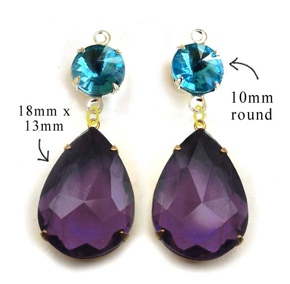 DIY earring design idea featuring amethyst purple teardrops and aqua round jewels