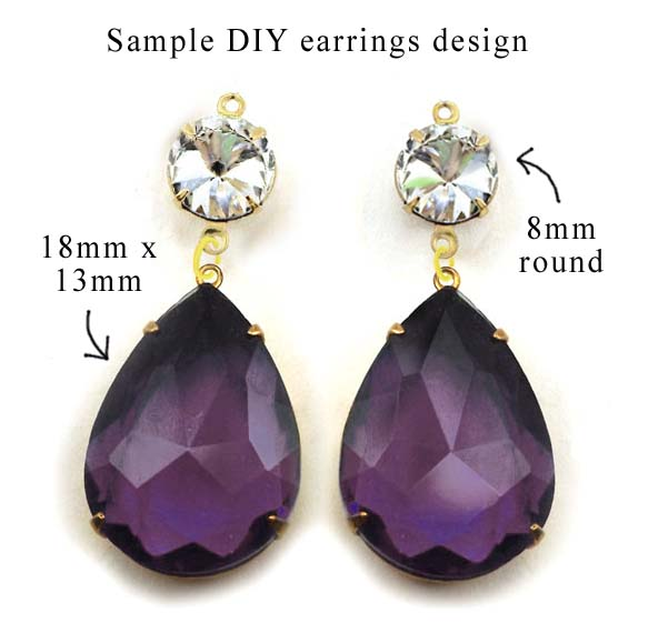 amethyst rhinestone teardrops with crystal rounds for a DIY earring design idea