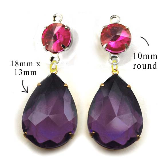 DIY earring design featuring rhinestone teardrops and crystal rounds in fuschia pink