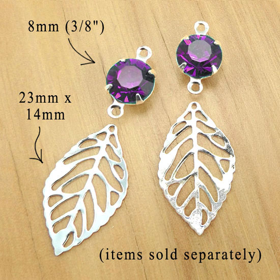 amethyst rhinestones with silver plated leaf charms