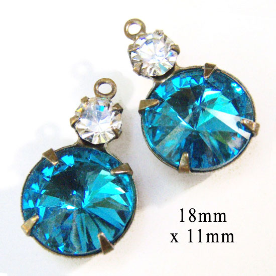 aqua and crystal glass earring jewels