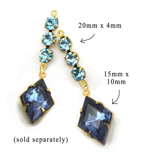 aqua glass connector and montana sapphire diamond shaped glass gems paired for an easy to use earring design idea