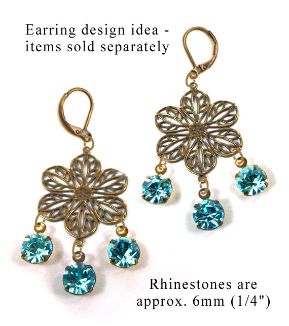DIY earring design idea featuring aqua rhinestone gems and brass filigree flowers