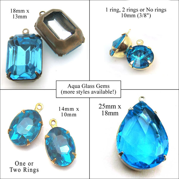 some of the aqua glass gems available in my shop right now.... click through to see more styles and shapes