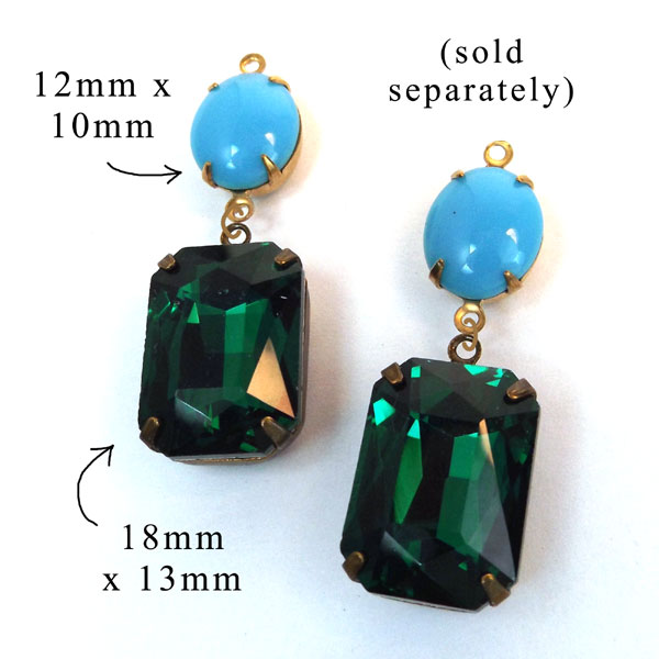 DIY earring design idea featuring aqua vintage glass ovals and emerald green faceted octagons