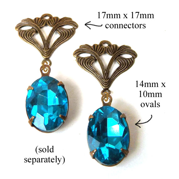 earring design idea featuring aqua oval rhinestone jewels paired with brass filigree connectors