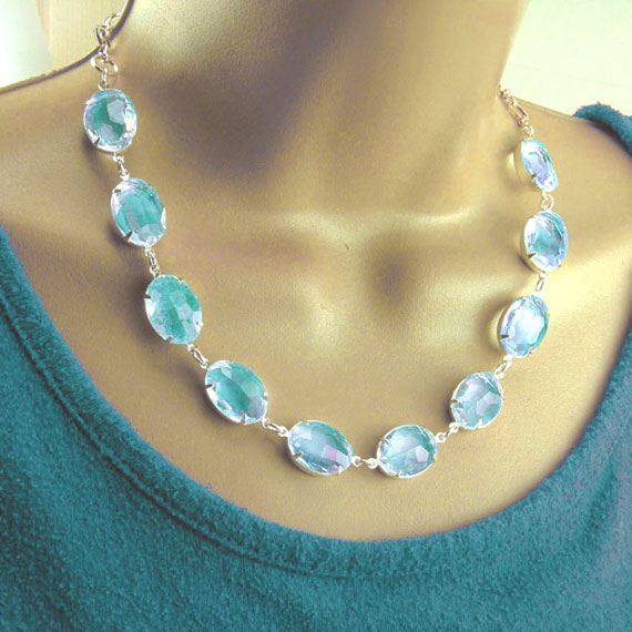 DIY necklace design idea featuring aqua sheer glass jewels and silver chain