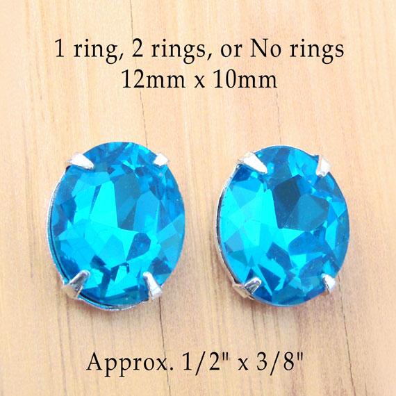 aqua rhinestone button or stud earring jewels