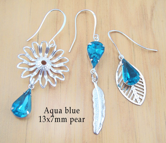 DIY earring designs with aqua glass  teardrop jewels