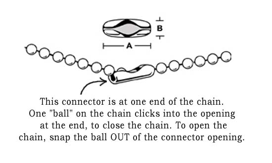 sketch showing how to open a ball chain