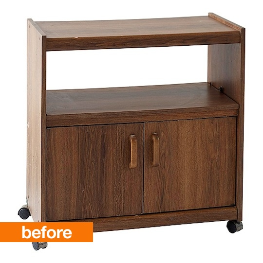 Before and After furniture redo.... tv cart or microwave cart