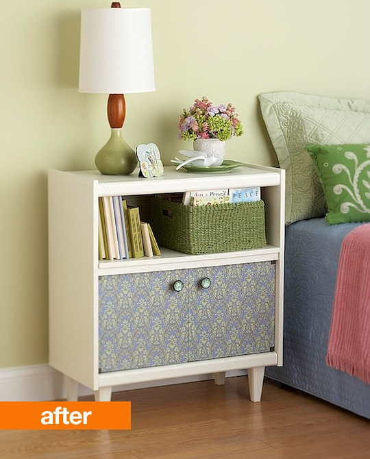 Before and After.... furniture redo from tv cart to bedside table