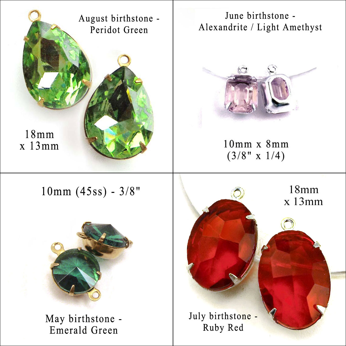 glass gems in birthstone colors for May through August