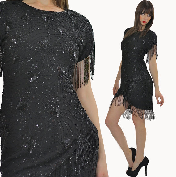 black beaded vintage dress