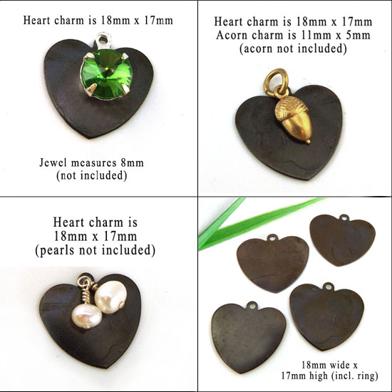 different ways to use blackened brass heart charms