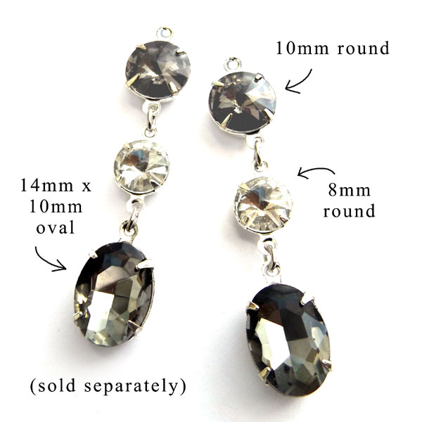 black diamond glass gems with crystal rivoli stones for a great earring design idea