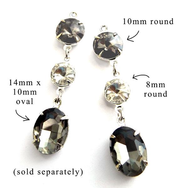 black diamond glass gems with crystal rivoli stones for a great earring design idea