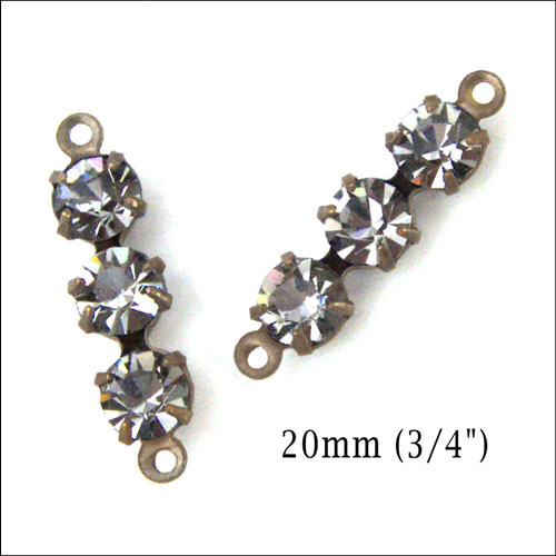 black diamond rhinestone triple jewel connectors