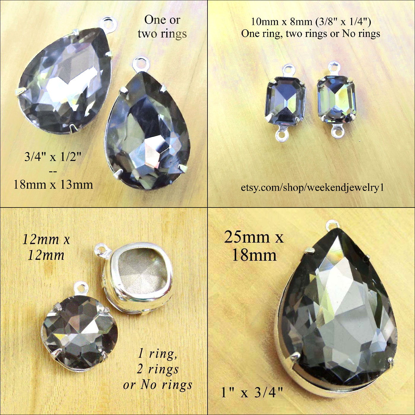black diamond glass jewels in my jewelry supplies shop