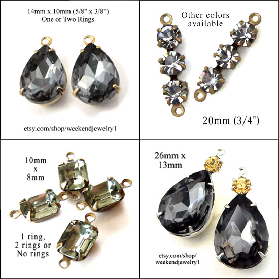 black diamond glass jewels for DIY jewelry designs