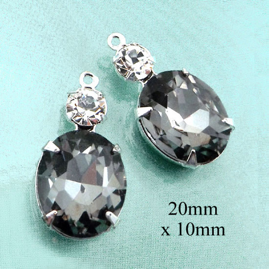 black diamond oval and crystal glass jewels or earring drops