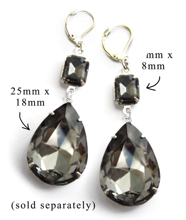 black diamond big faceted teardrops combined with faceted octagon stones to make statement earrings...components are on sale in my online jewelry supplies shop