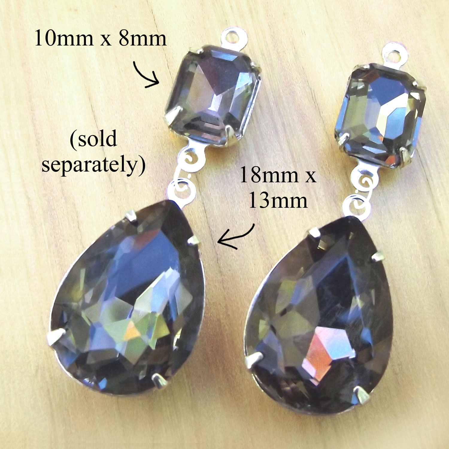 black diamond rhinestone teardrops paired with small faceted octagons for DIY earrings