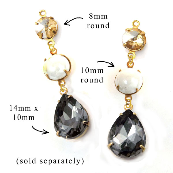 earring design idea featuring black diamond glass teardrops paired with neutral round glass gems
