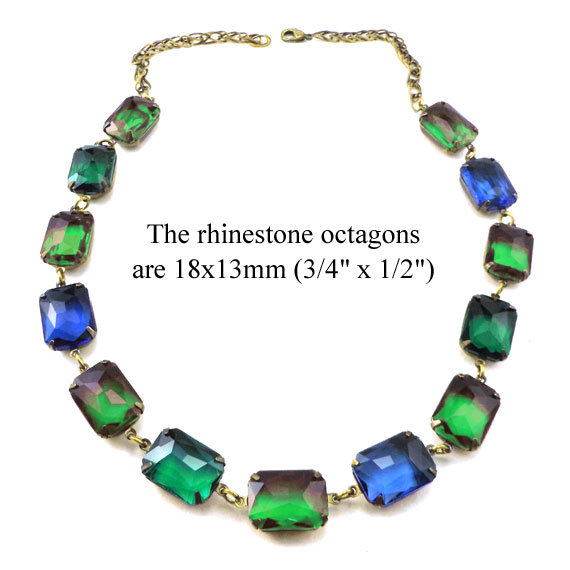 vivid sapphire blue and emerald green octagons necklace design idea