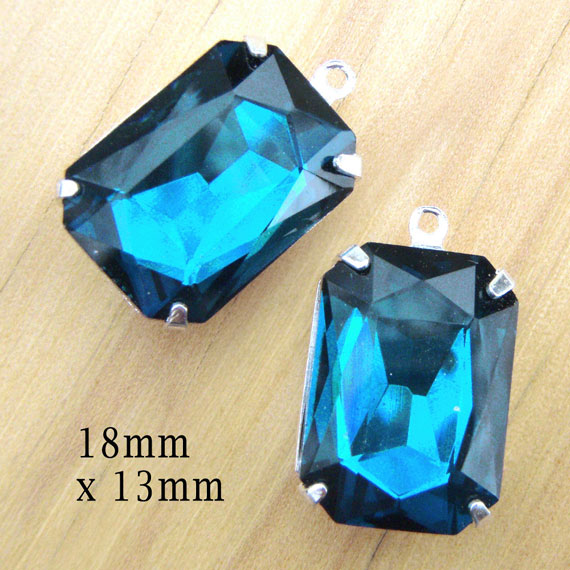 blue zircon octagon jewels in my Etsy shop