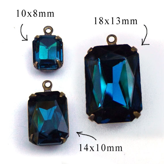 blue zircon rhinestone octagons in three sizes.... available at weekendjewelry1.etsy.com