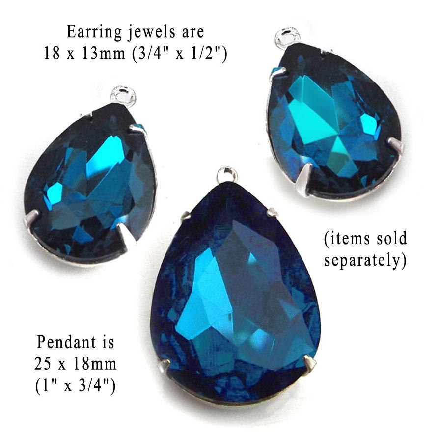 blue zircon rhinestone teardrop pendant and coordinating earring beads