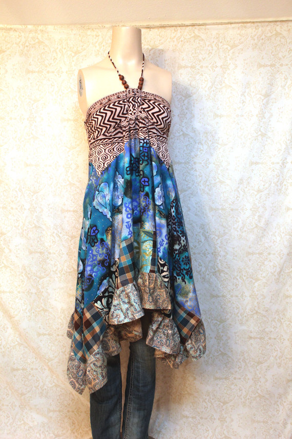 boho upcycled dress from Revival boutique on Etsy