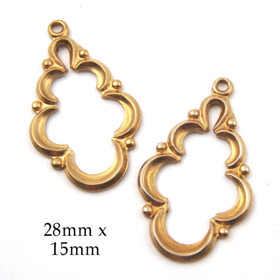 golden brass art deco earring drops